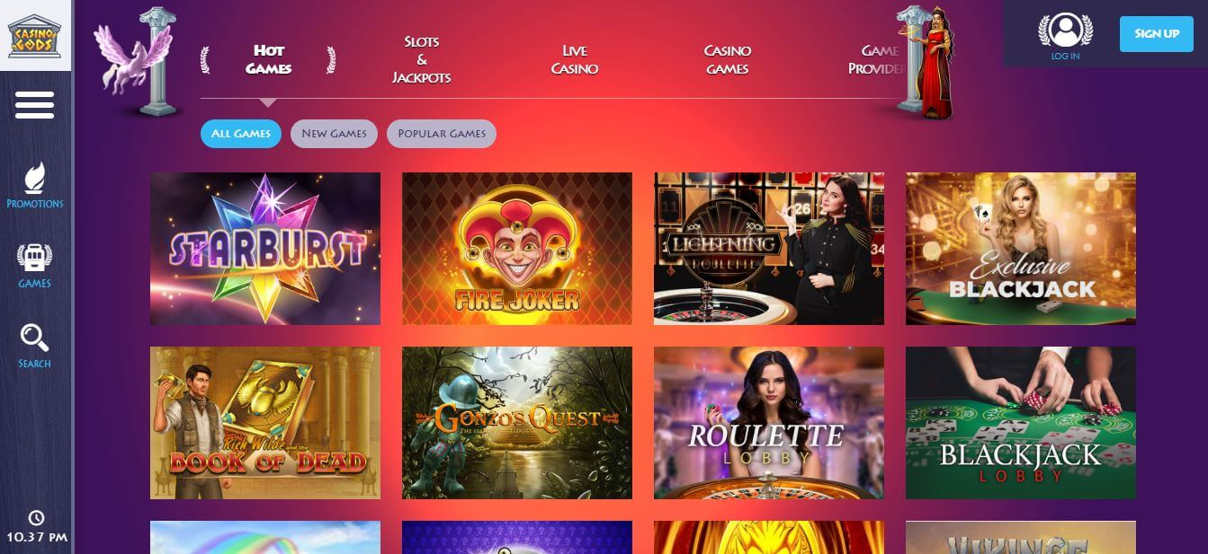 A large selection of popular casino games at Casino Gods India