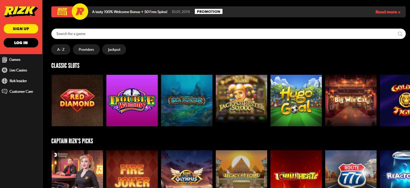 Enjoy 1000+ slots at Rizk Casino India