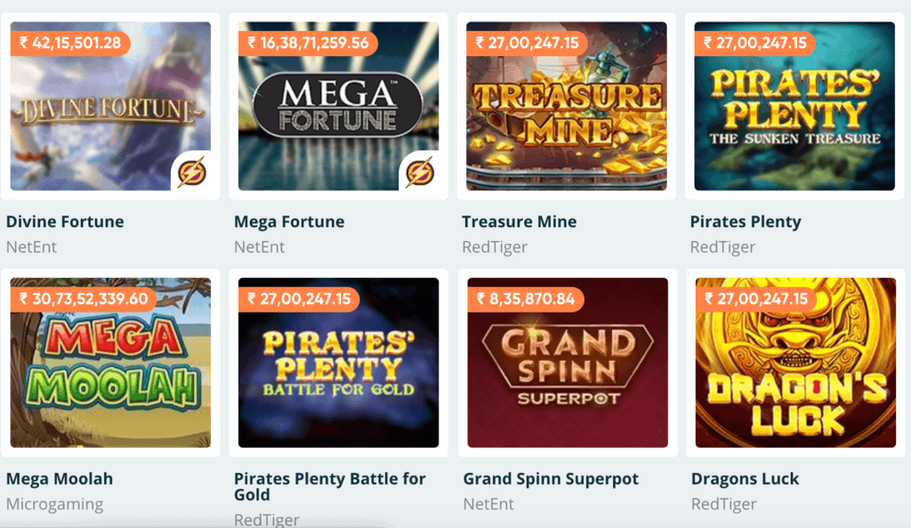 Examples of different jackpot games available at Pure Casino