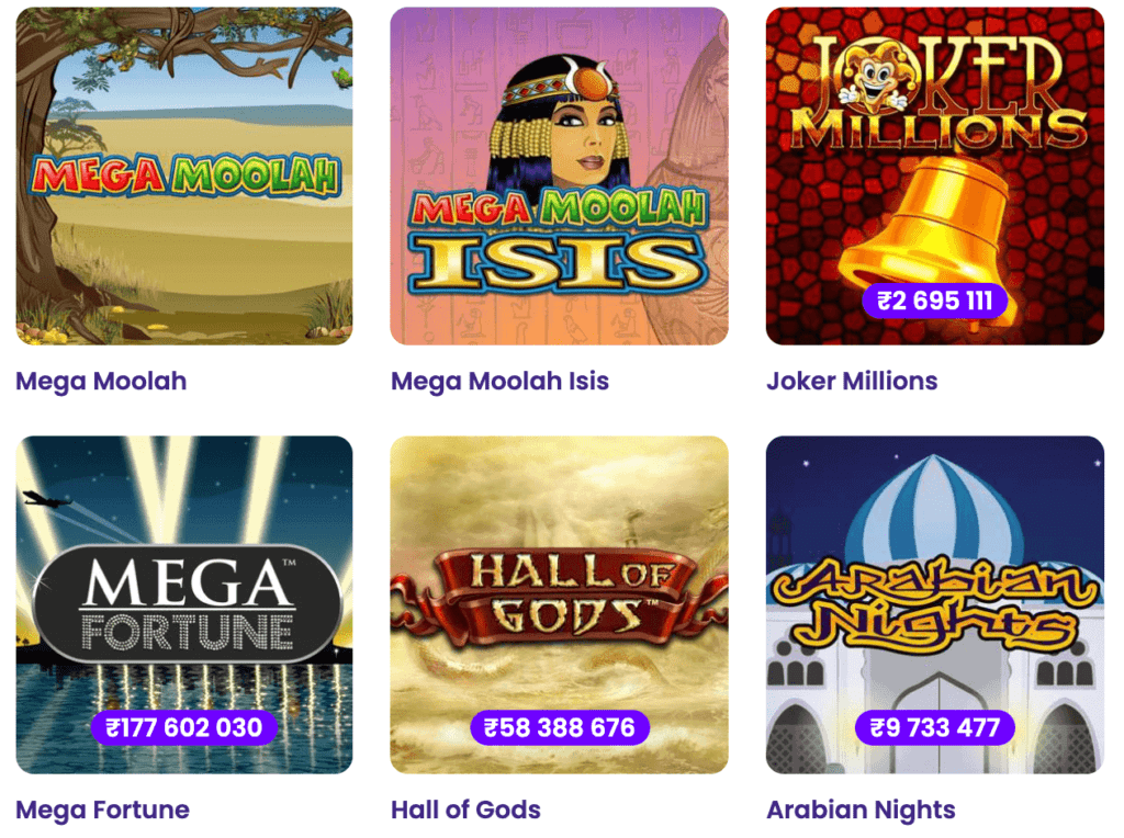 Examples of progressive jackpots at Wildz Casino